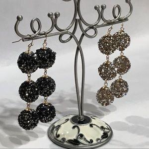 Anna & Ava Beaded 3 Ball Drop Goldtone Earrings